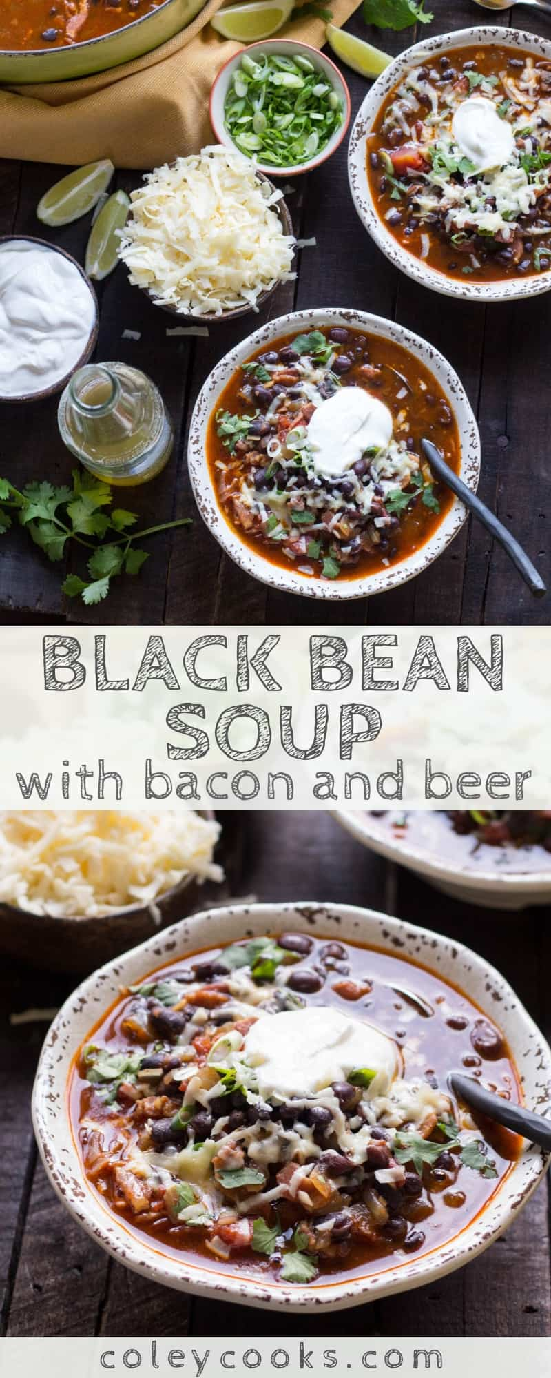 This Black Bean Soup with bacon + beer is so easy, super flavorful and perfect for watching football! Best recipe for Super Bowl Sunday! #easy #soup #recipe #bacon #beer #football #superbowl #beans #texmex