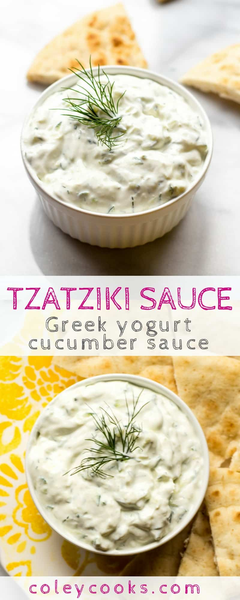 TZATZIKI SAUCE | Easy recipe for Greek yogurt cucumber sauce Tzatziki! Creamy, refreshing, and wonderful with pita, on gyros, souvlaki, falafel, or your favorite Greek recipe! #glutenfree #vegetarian | ColeyCooks.com