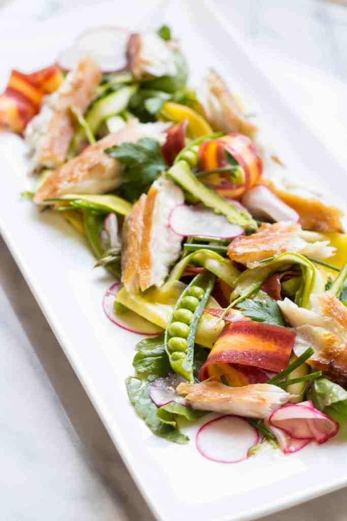 Smoked Barramundi with Spring Vegetable Salad