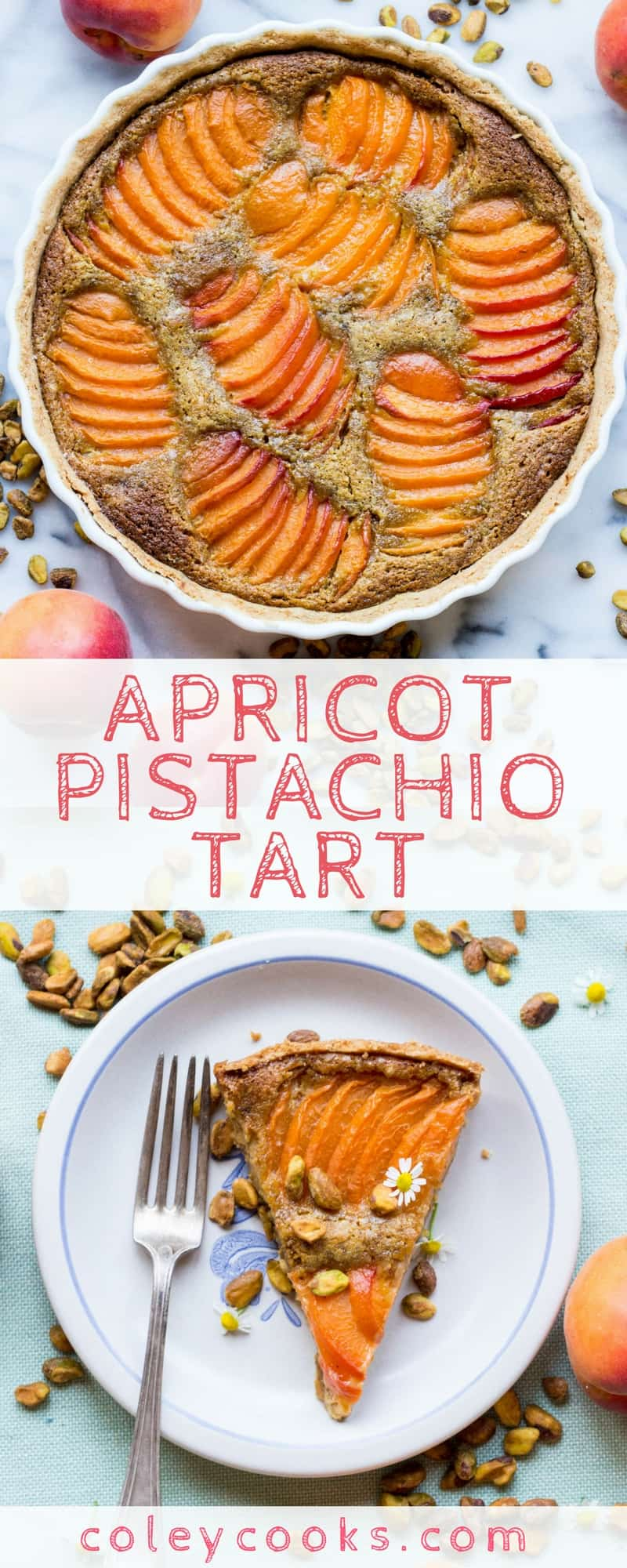 APRICOT PISTACHIO TART | Buttery shortbread crust, pistachio frangipane and juicy fresh apricots. A beautiful, surprisingly easy summer dessert recipe! | ColeyCooks.com