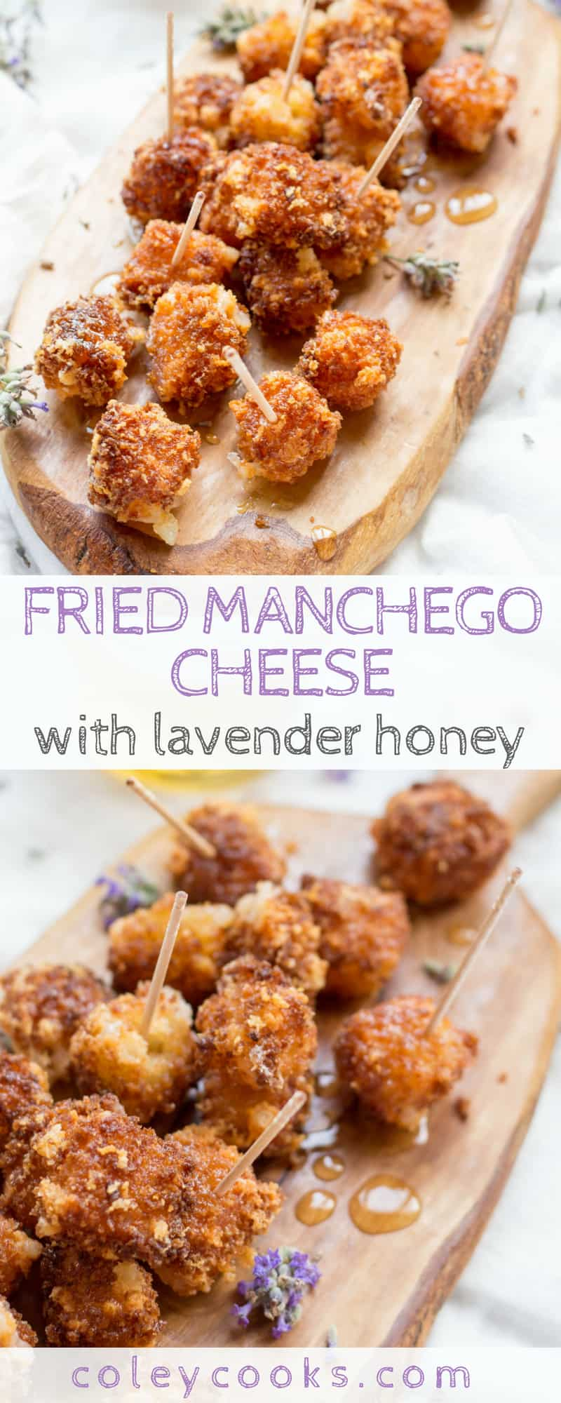 FRIED MANCHEGO CHEESE with LAVENDER HONEY | This easy cheesy appetizer recipe is the best fried cheese you'll ever try! Homemade lavender honey puts it over the top. #recipe #appetizer #Spanish #cheese | ColeyCooks.com