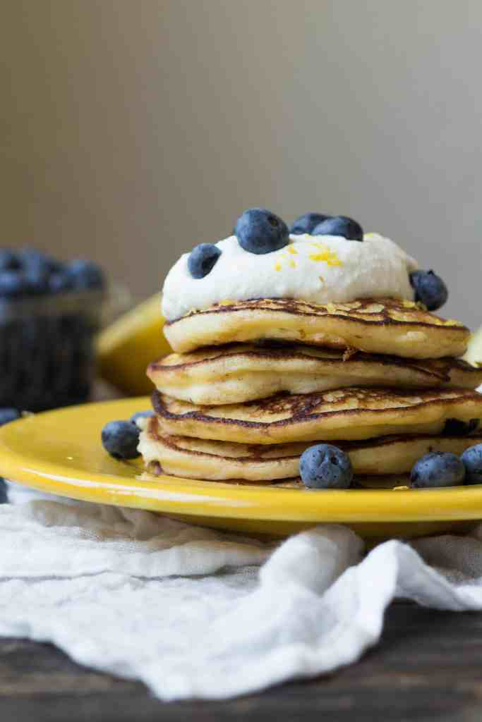 Lemon Blueberry Ricotta Pancakes (Video!)