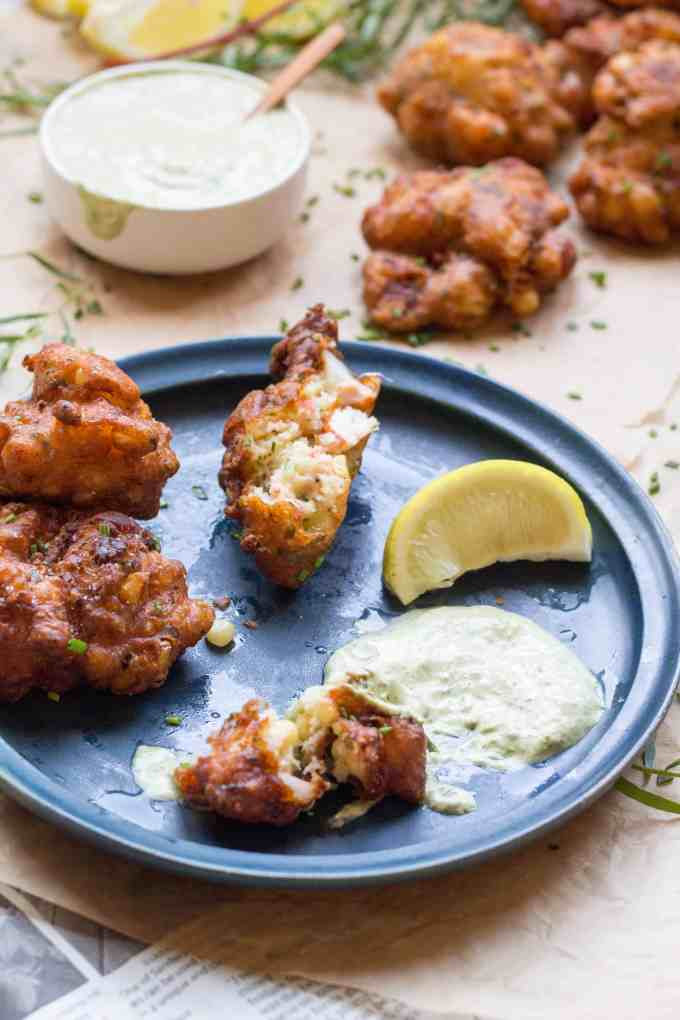 Lobster Corn Fritters with Tarragon Aioli