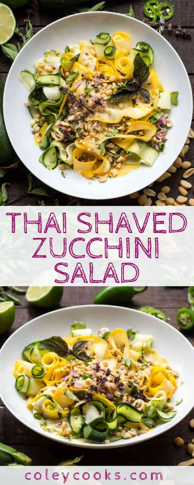 THAI SHAVED ZUCCHINI SALAD | Easy summer salad recipe bursting with flavor! Raw zucchini ribbons tossed in a light Thai vinaigrette, finished with Thai basil and crunchy peanuts! #recipe #salad #raw #plantbased #zucchini | ColeyCooks.com