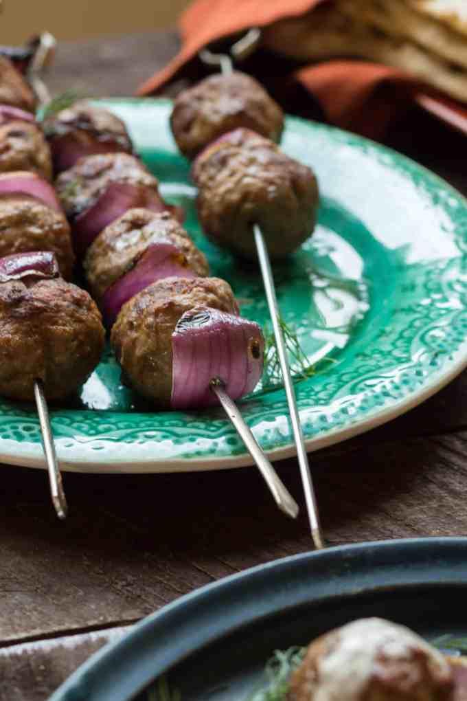 Grilled Lamb Meatballs with Tahini Sauce