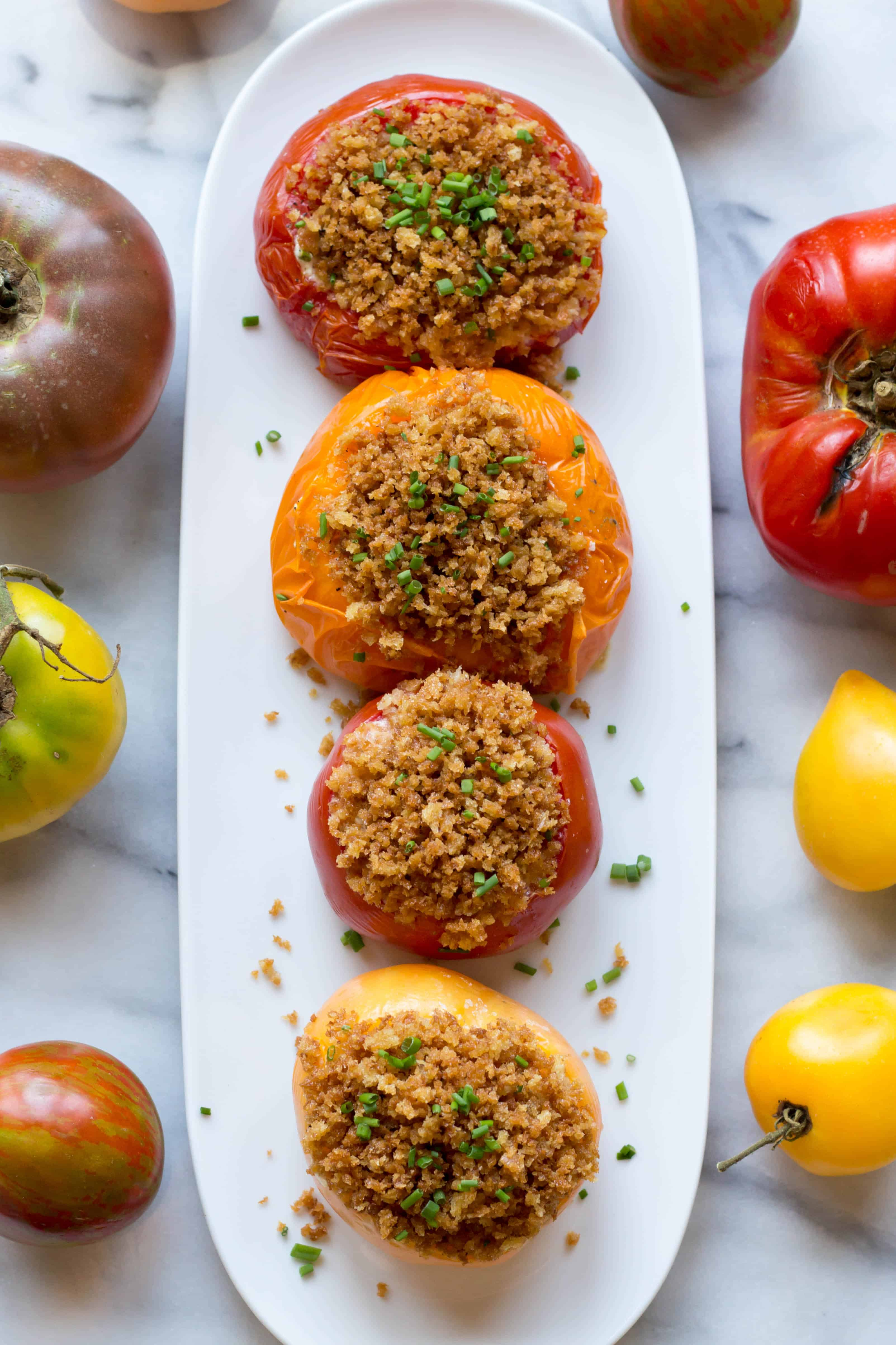 Goat Cheese + Chive Stuffed Tomatoes (Video!)
