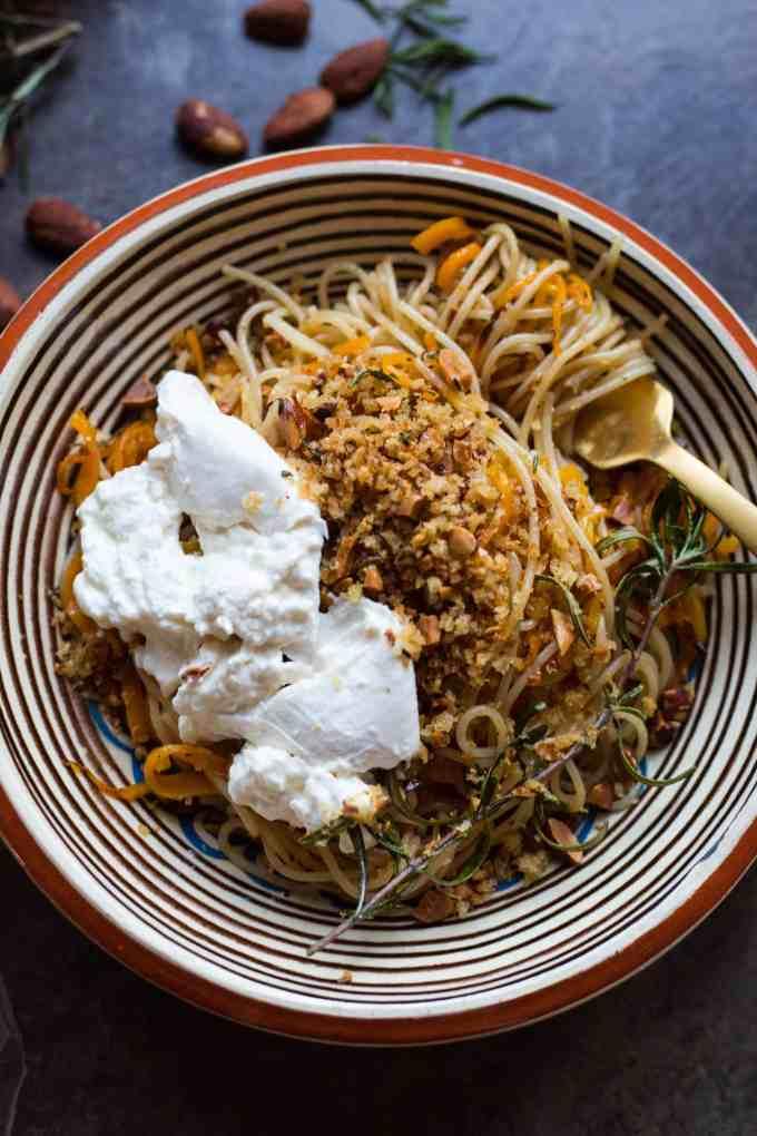 Butternut Squash Pasta with Brown Butter, Almond Breadcrumbs + Burrata