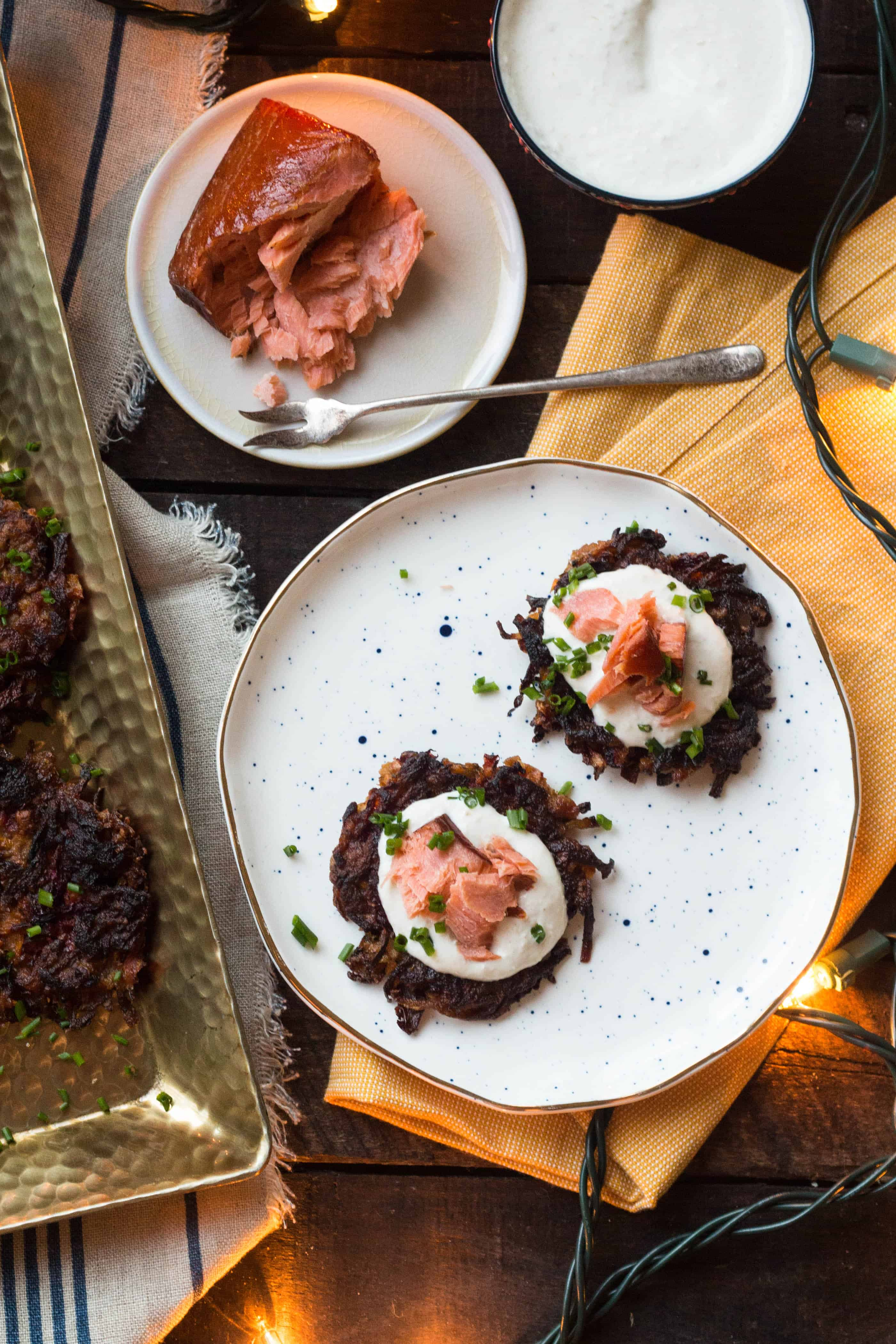 Beet + Carrot Latkes with Smoked Salmon + Horseradish Sour Cream