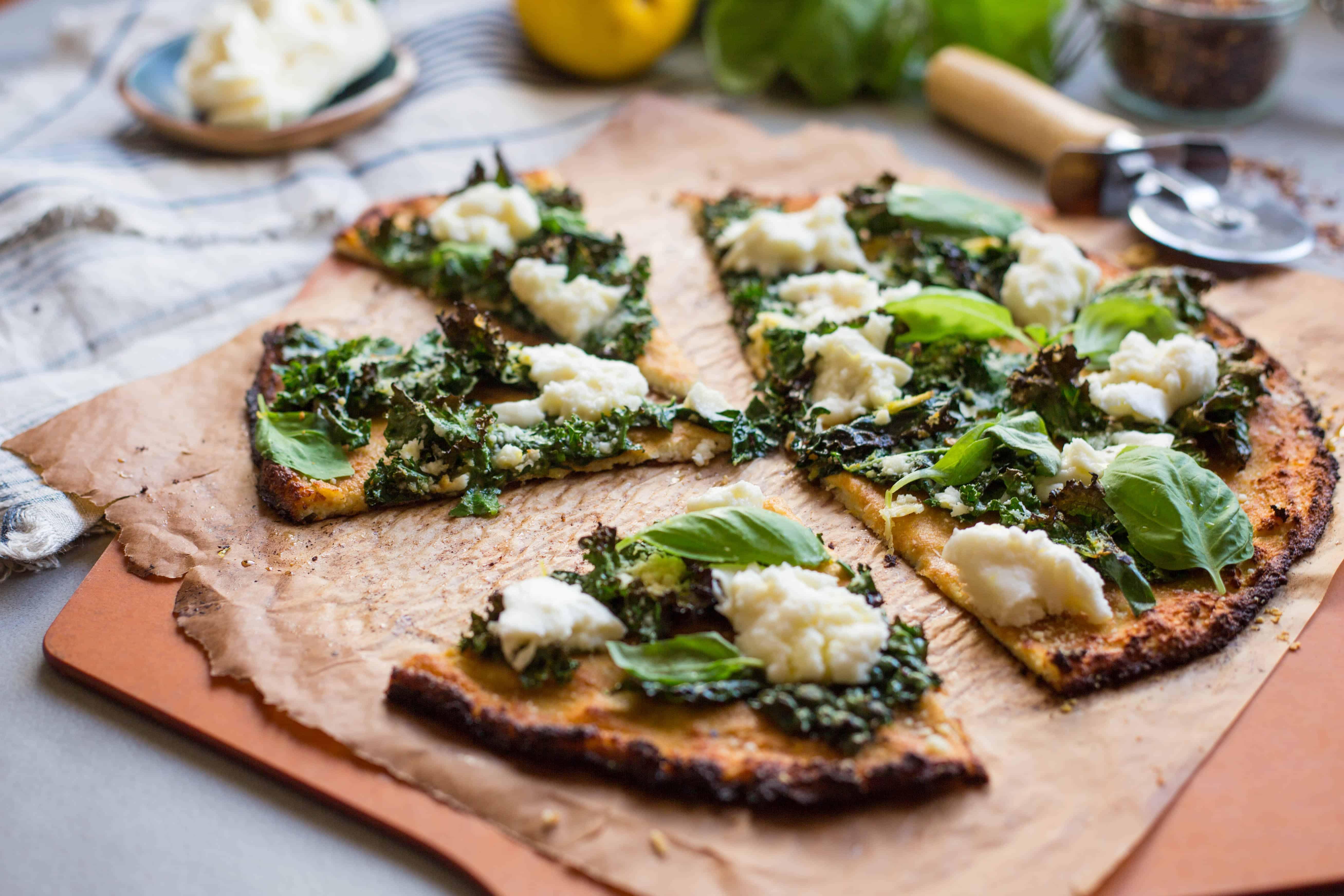 Cauliflower Crust Pizzas with Lemony Kale + Fresh Mozz