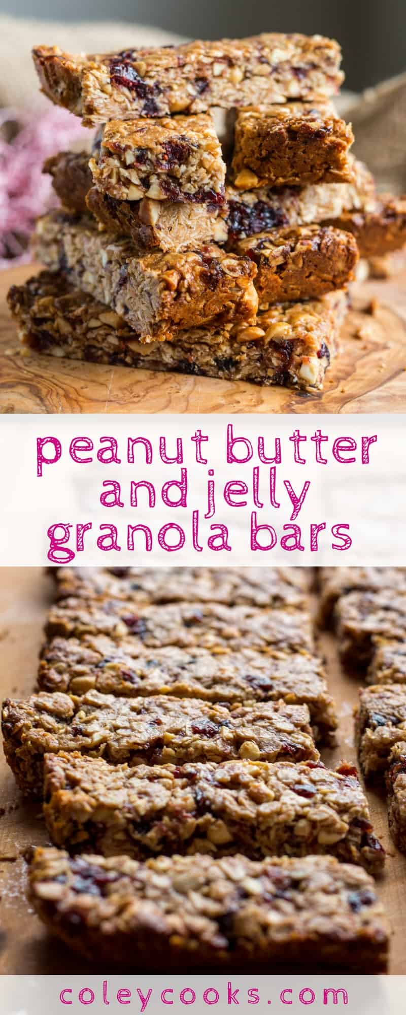 PEANUT BUTTER and JELLY GRANOLA BARS | This easy, healthy recipe for chewy peanut butter and jelly granola bars is gluten free + vegan! Great for kids, quick breakfasts, and snacking on the go! #glutenfree #vegan | ColeyCooks.com