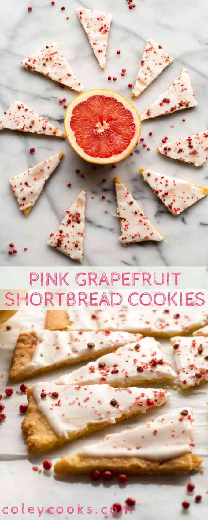 These Pink Grapefruit Shortbread Cookies are buttery, tangy, zesty, lightly sweetened and super easy to make! #easy #grapefruit #shortbread #recipe #citrus #cookies #dessert | Coleycooks.com