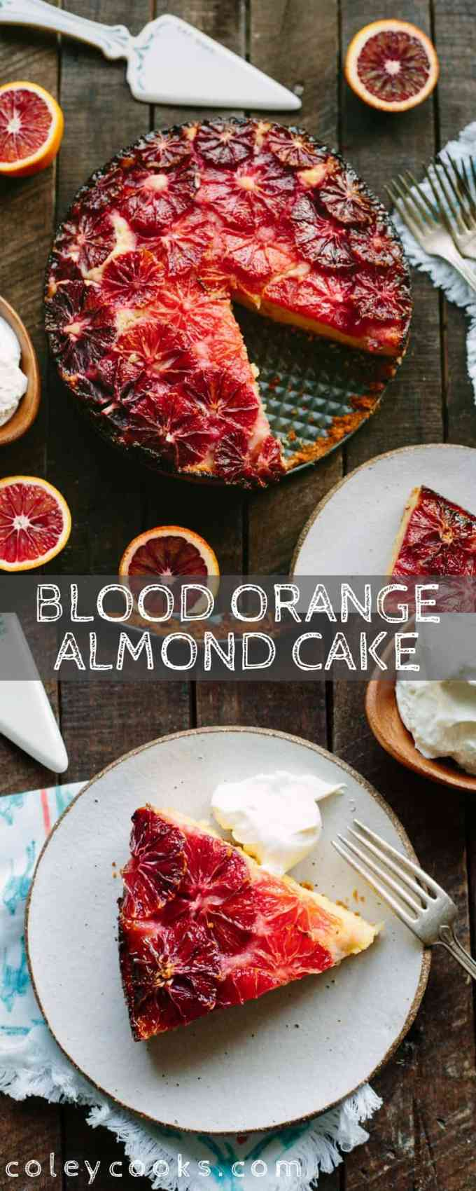 This recipe for Blood Orange + Almond Cake is a beautiful winter citrus dessert with a tender, moist crumb from the addition of yogurt and almond flour. #easy #citrus #blood #orange #winter #dessert #cake #recipe #fruit #yogurt #almond