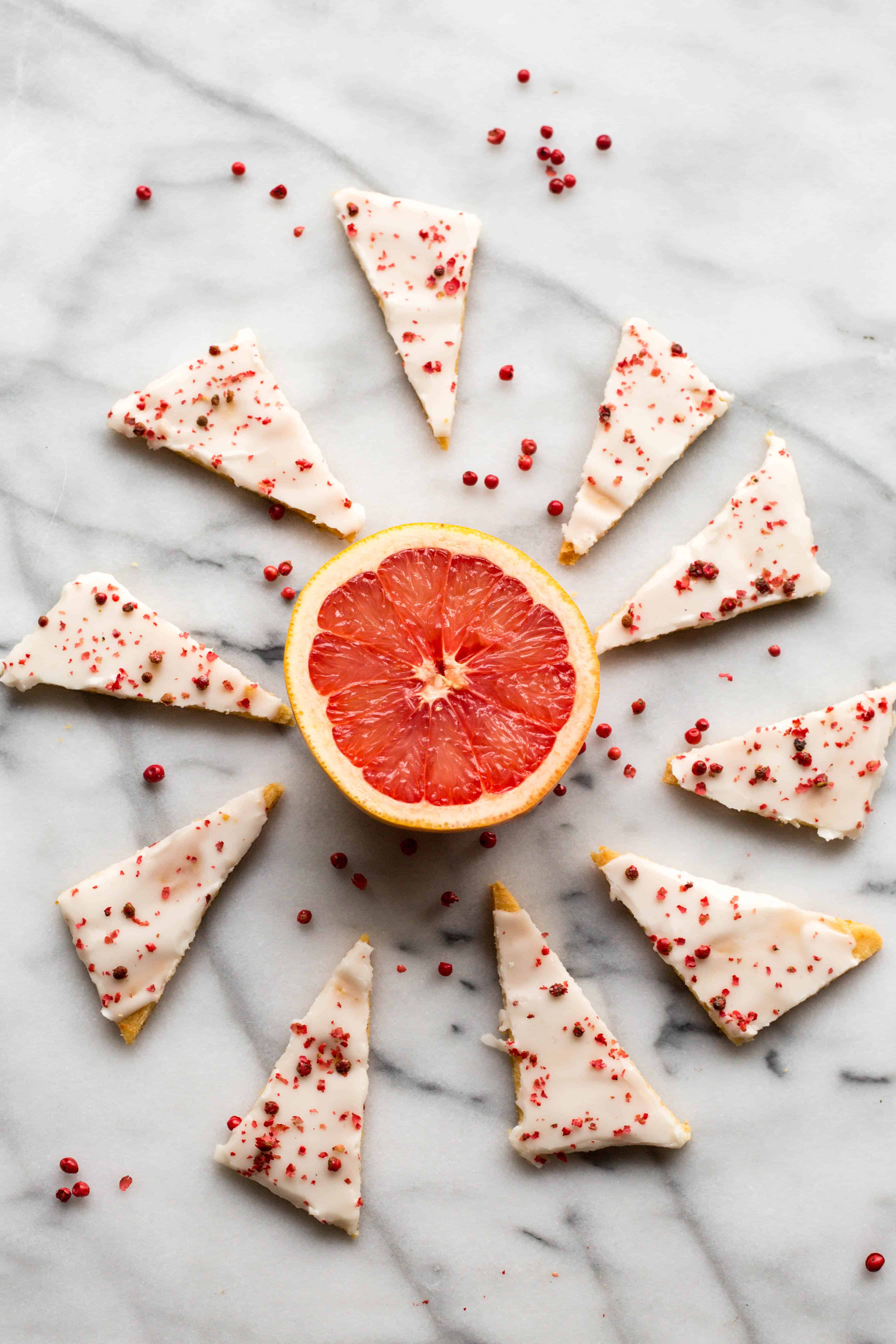 Pink Grapefruit Shortbread Cookies