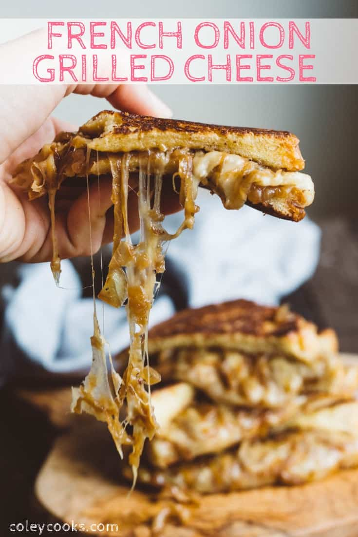FRENCH ONION GRILLED CHEESE | This grilled cheese is UNREAL! Gooey Melted Cheese and Deeply Caramelized Onions on Buttery Toasted Bread. The best grilled cheese ever! #easy #best #french #onion #grilled #cheesy #recipe #gruyere #buttery #melted | ColeyCooks.com