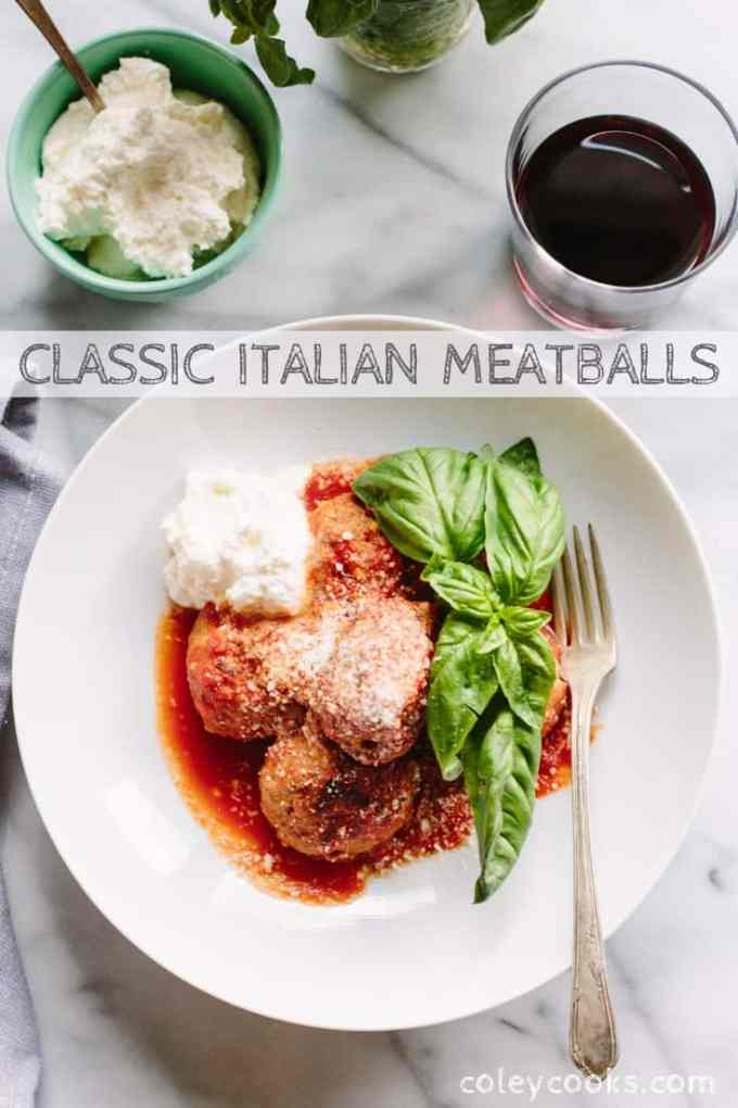 This is my Sicilian family's traditional meatball recipe using beef, pork, and veal. These are the best Italian meatballs you'll ever taste! #easy #authentic #italian #meatballs #sauce #gravy | ColeyCooks.com