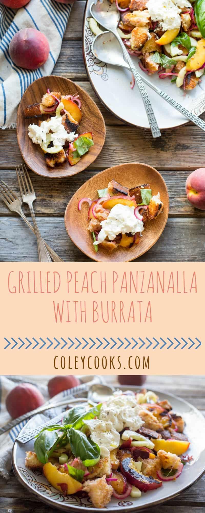 Grilled Peach Panzanella with Burrata | ColeyCooks.com