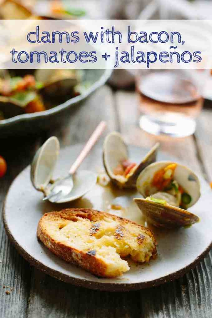 Clams with Bacon, Tomatoes + Jalapeños | Easy steamed clam recipe with spicy, buttery tomato bacon broth. Delicious summer appetizer or dinner! #clams #tomatoes #recipe #appetizer #summer #dinner #seafood | ColeyCooks.com