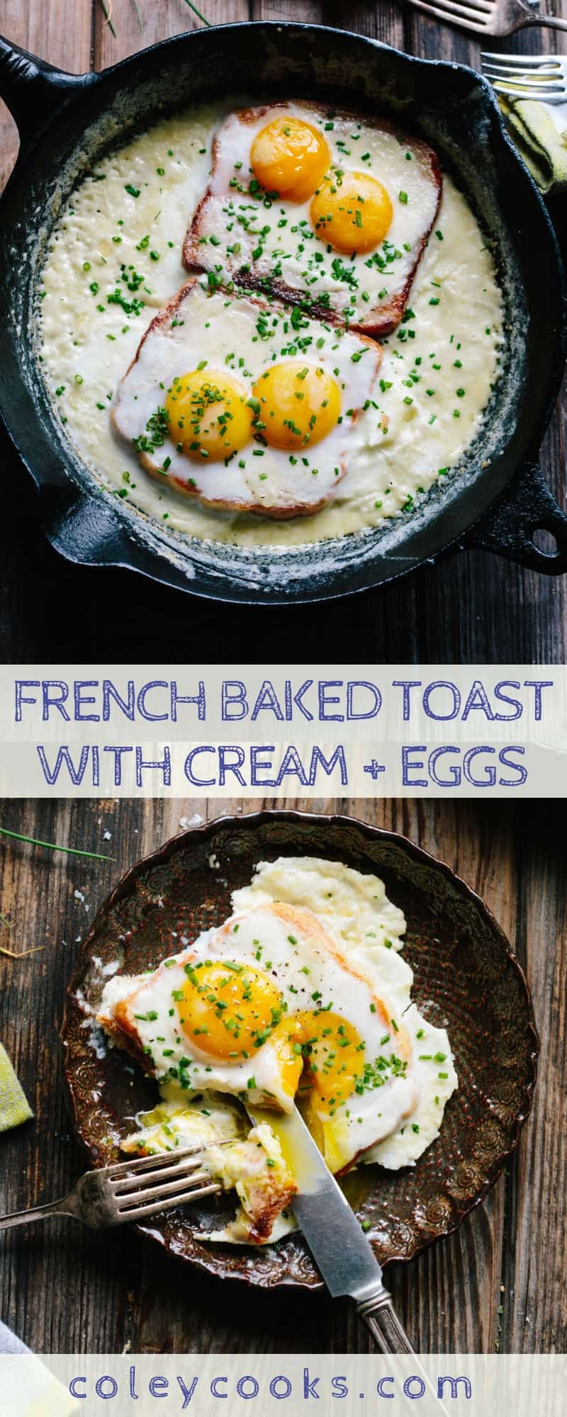 FRENCH BAKED TOAST WITH CREAM + EGGS | Easy + Impressive French Breakfast. Rich, decadent, satisfying buttery toast baked with cream and topped with eggs. amazing! #french #toast #breakfast #brunch #eggs #recipe | ColeyCooks.com