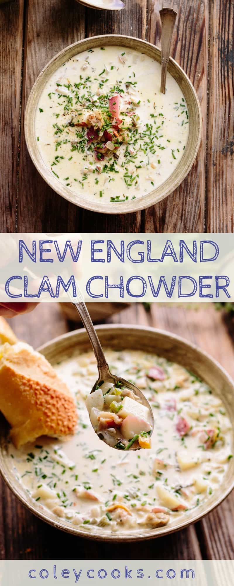 NEW ENGLAND CLAM CHOWDER | Simple, Classic, Delicious chowder recipe that's not overly thickened. A light cream base with lots of fresh clams, bacon potatoes and herbs. #newengland #clam #chowder #recipe #soup | ColeyCooks.com