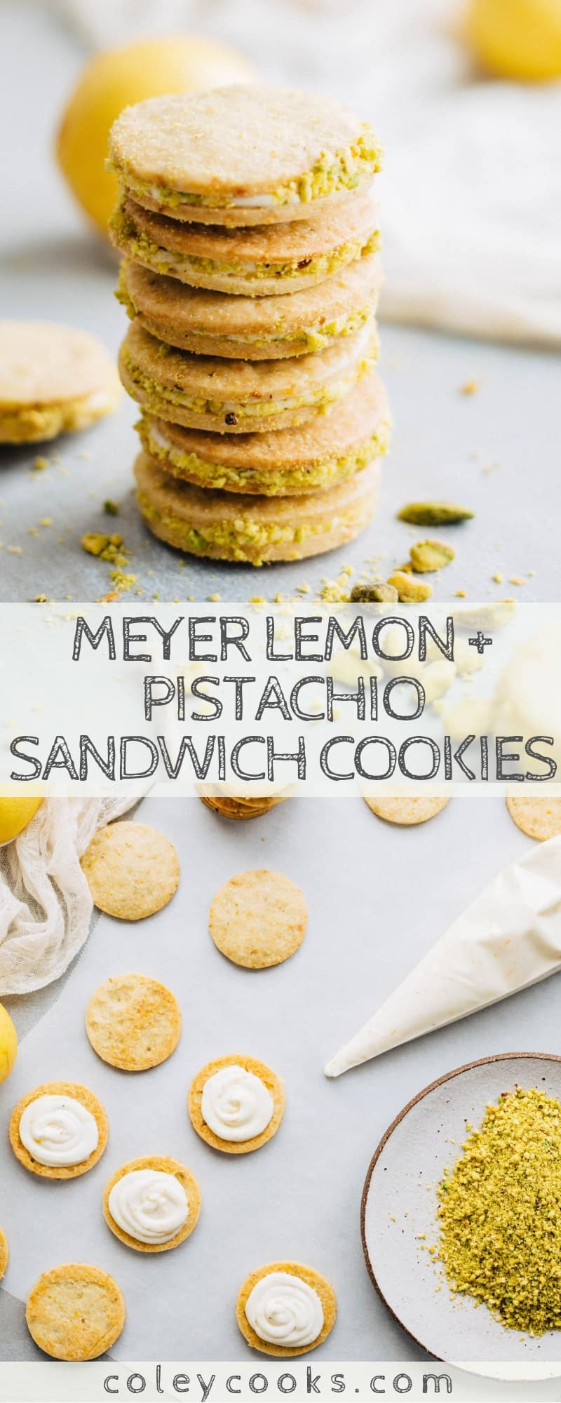 Meyer Lemon + Pistachio Sandwich Cookies | Beautiful tart, and delicious Christmas cookies! Pistachio shortbread sandwiched with meyer lemon buttercream. Amazing! #christmas #cookie #recipe #sandwich #meyerlemon #pistachio #shortbread | ColeyCooks.com