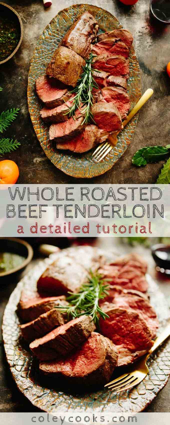 This is a detailed tutorial on how to roast a whole beef tenderloin (filet mignon). Perfect for holiday entertaining! #meat #beef #filet #roasted #tenderloin #easy #recipe | ColeyCooks.com