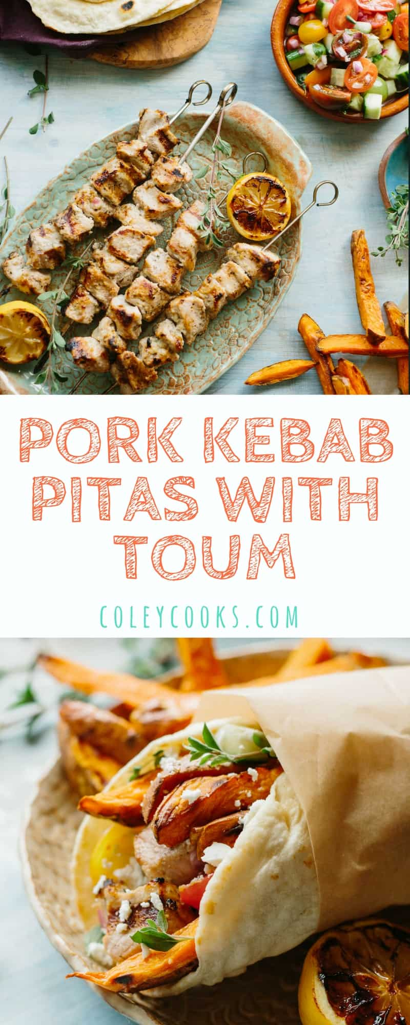 PORK KEBAB PITAS WITH TOUM   Tender Pitas Stuffed with Marinated Pork, Sweet Potato Fries, Tomato Cucumber Salad and a Garlicky Lebanese Sauce called Toum.   ColeyCooks.com