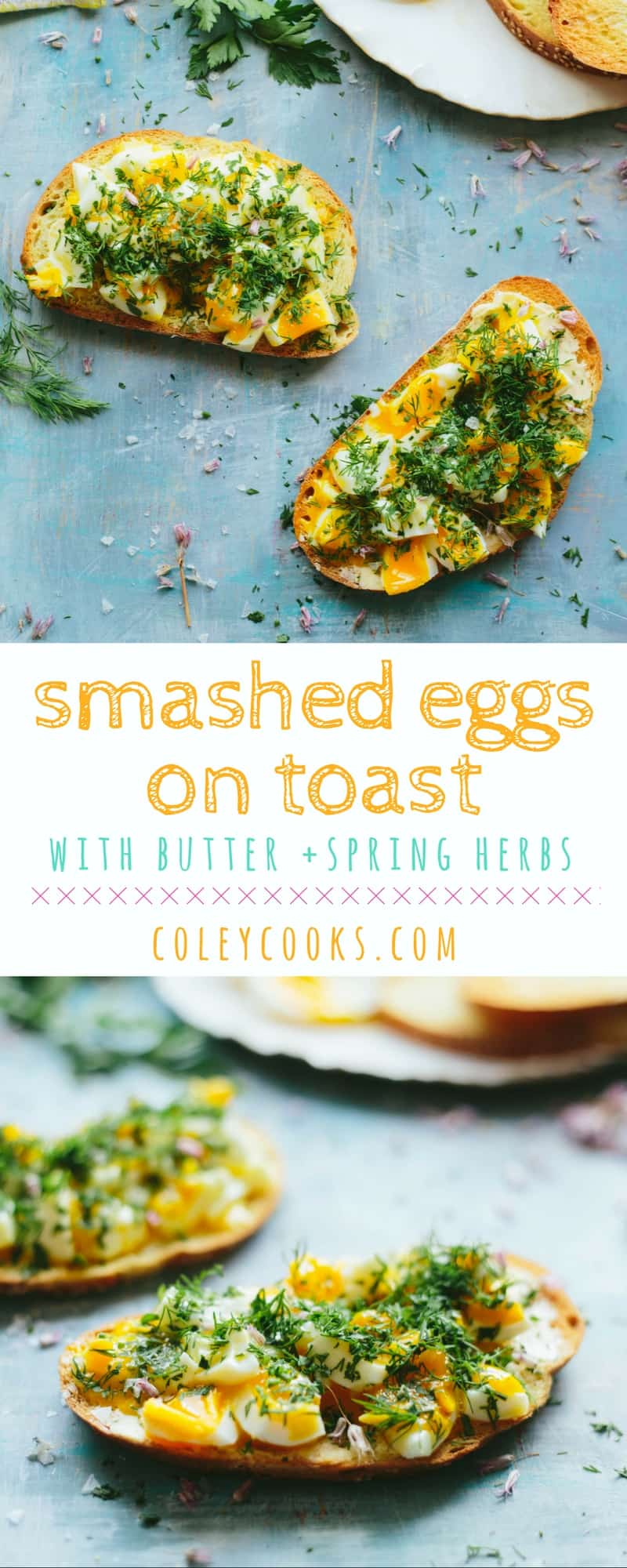 SMASHED EGGS ON TOAST with Butter + Spring Herbs | Soft boiled jammy eggs smashed on buttery toast with lots of spring herbs. Easy and delicious breakfast, lunch, dinner, or snack! | ColeyCooks.com