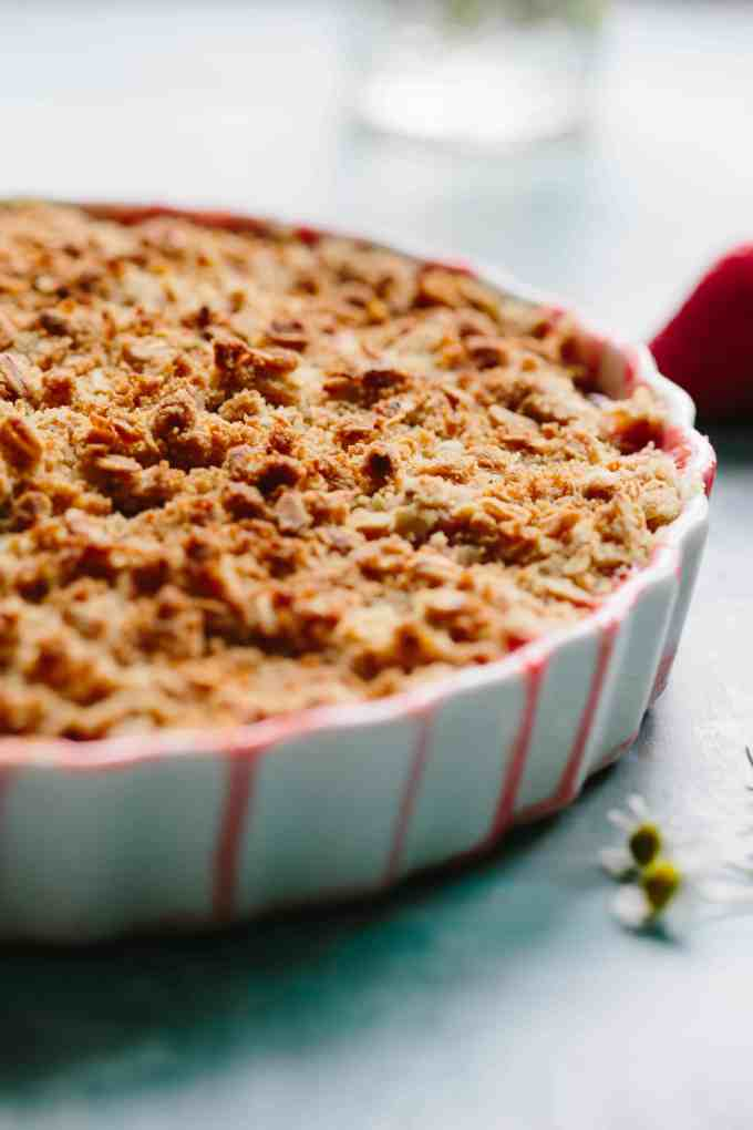APRICOT STRAWBERRY RHUBARB CRISP | Easy spring / summer dessert recipe! Buttery oat crumble topping over jammy sweet tart fruit. #easy #fruit #crisp #dessert #recipe | ColeyCooks.com