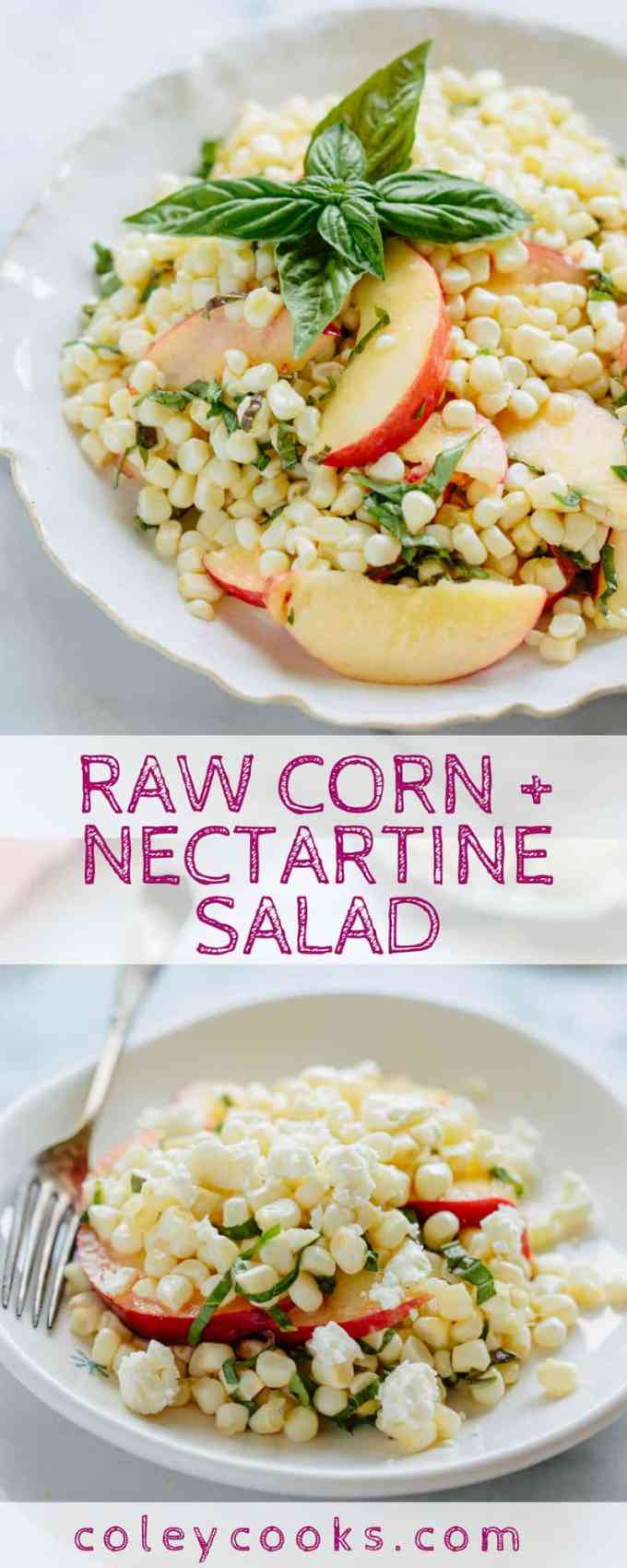 RAW CORN + NECTARINE SALAD. Easy summer salad recipe with beautiful raw sweet corn, juicy ripe nectarines + fresh basil - vegan + gluten free! #easy #glutenfree #planbased #vegan #recipe #summer #salad #corn #nectarines | ColeyCooks.com.jpg
