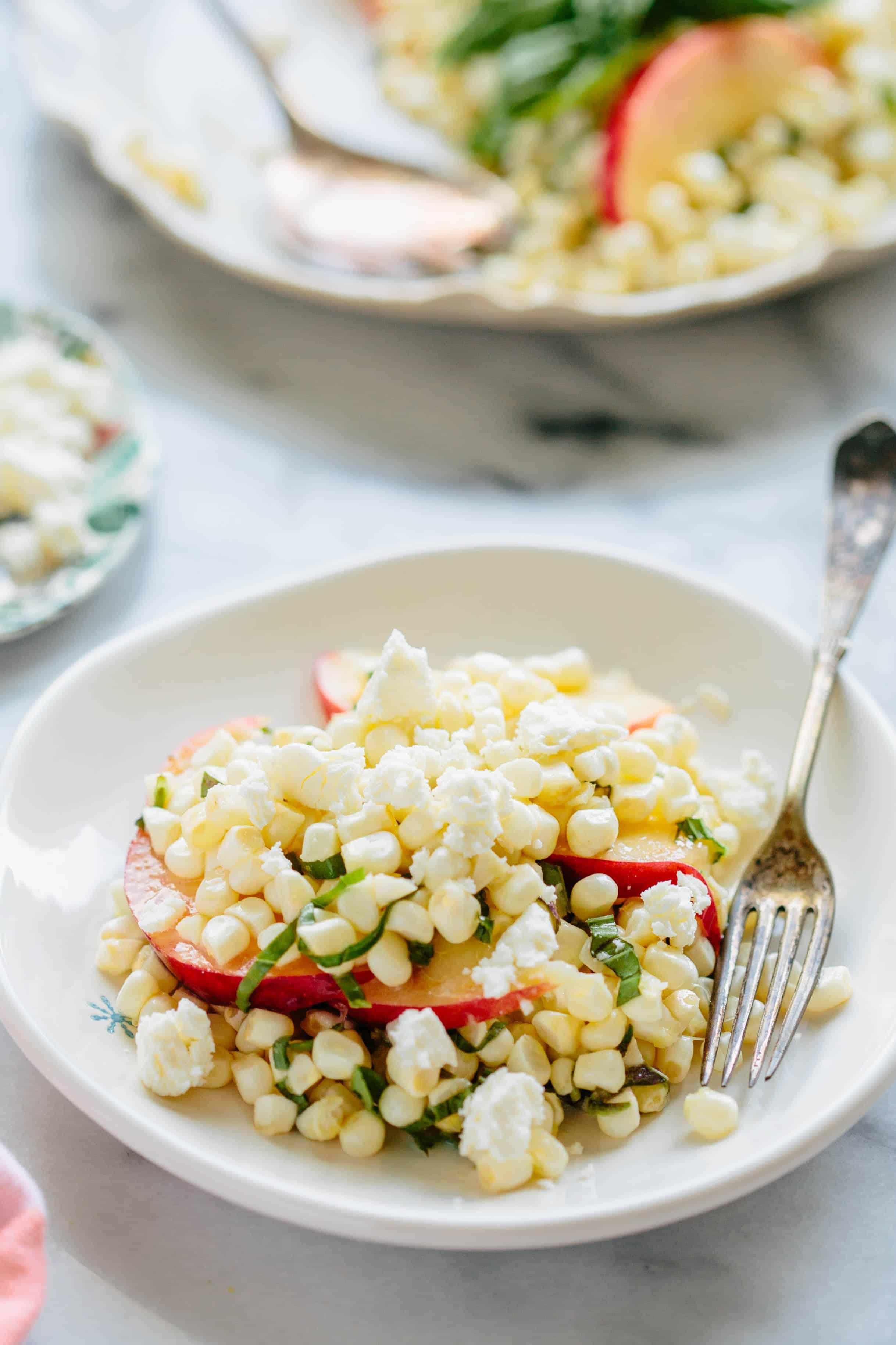 RAW CORN + NECTARINE SALAD. Easy summer salad recipe with beautiful raw sweet corn, juicy ripe nectarines + fresh basil - vegan + gluten free! #easy #glutenfree #planbased #vegan #recipe #summer #salad #corn #nectarines | ColeyCooks.com.jpg