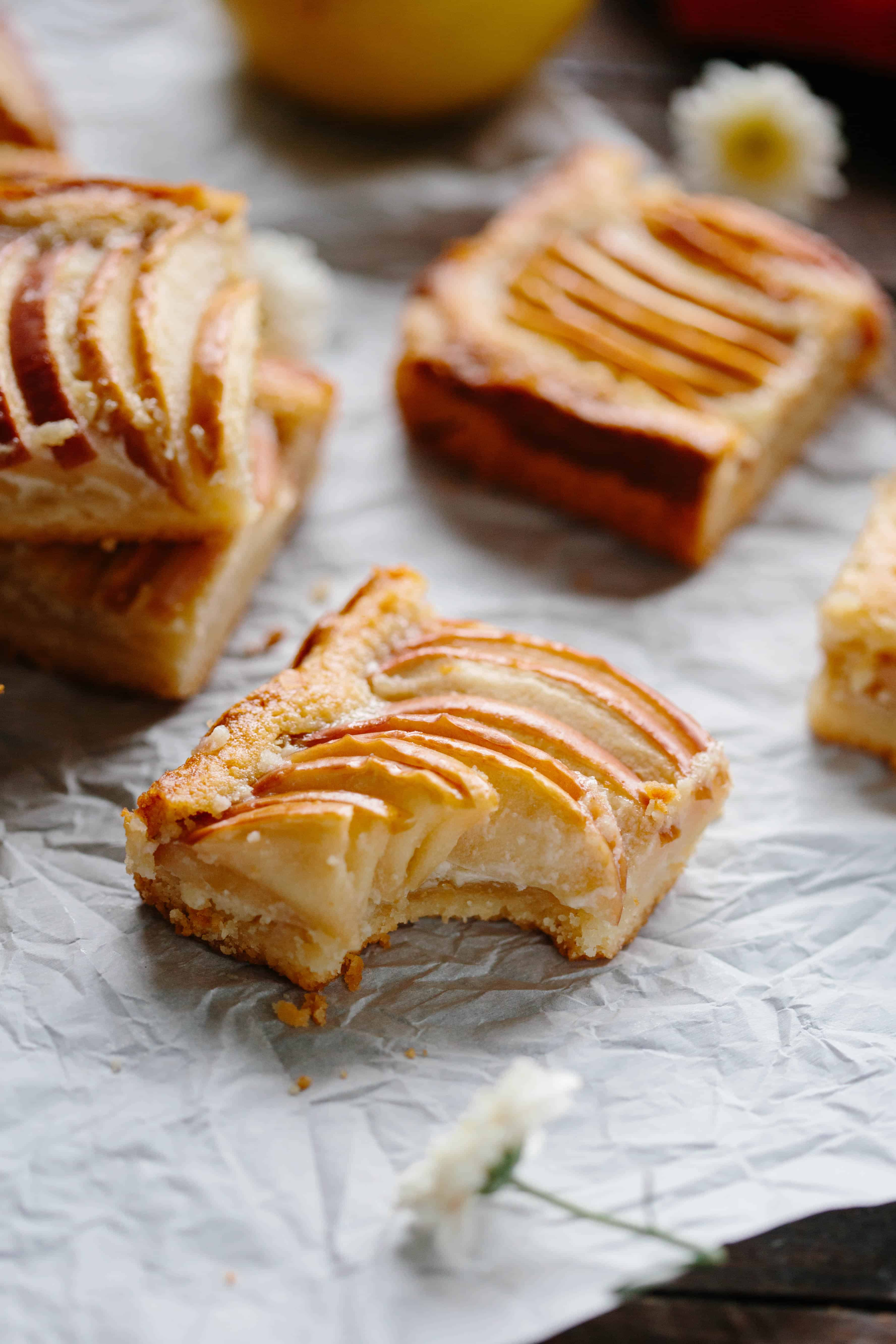 APPLE ALMOND SHORTBREAD BARS   Easy fall dessert recipe! Buttery shortbread crust with almond frangipane and tart apples baked in. #easy #fall #recipe #dessert #bars #cookies #apple #almond #frangipane   ColeyCooks.com