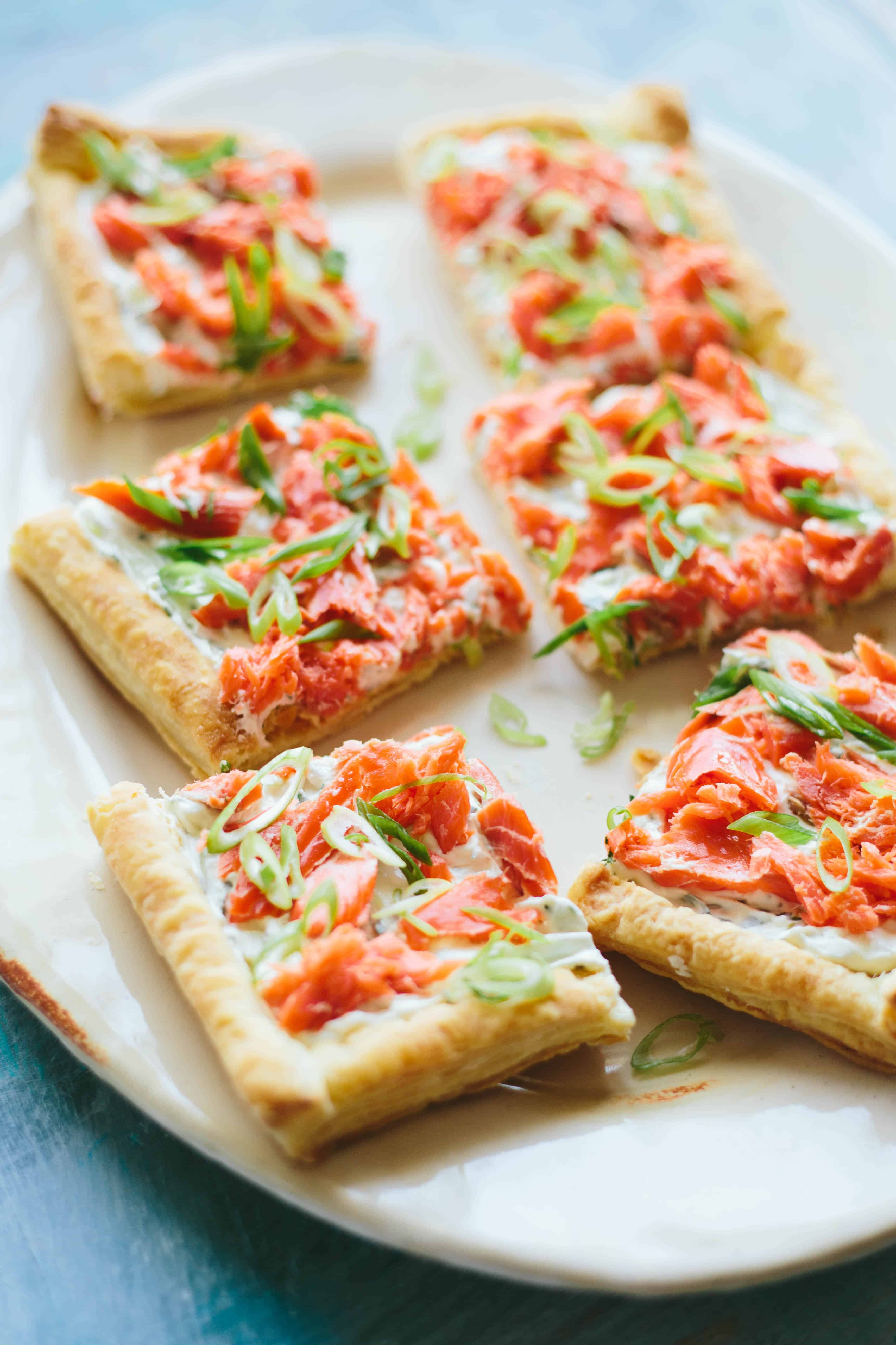 Easy Smoked Salmon Puff Pastry Tart   This simple recipe makes an easy entertaining appetizer, lunch or brunch! #smokedsalmon #puffpastry #tart #recipe #appetizer #brunch #lunch #wildsalmon   ColeyCooks.com