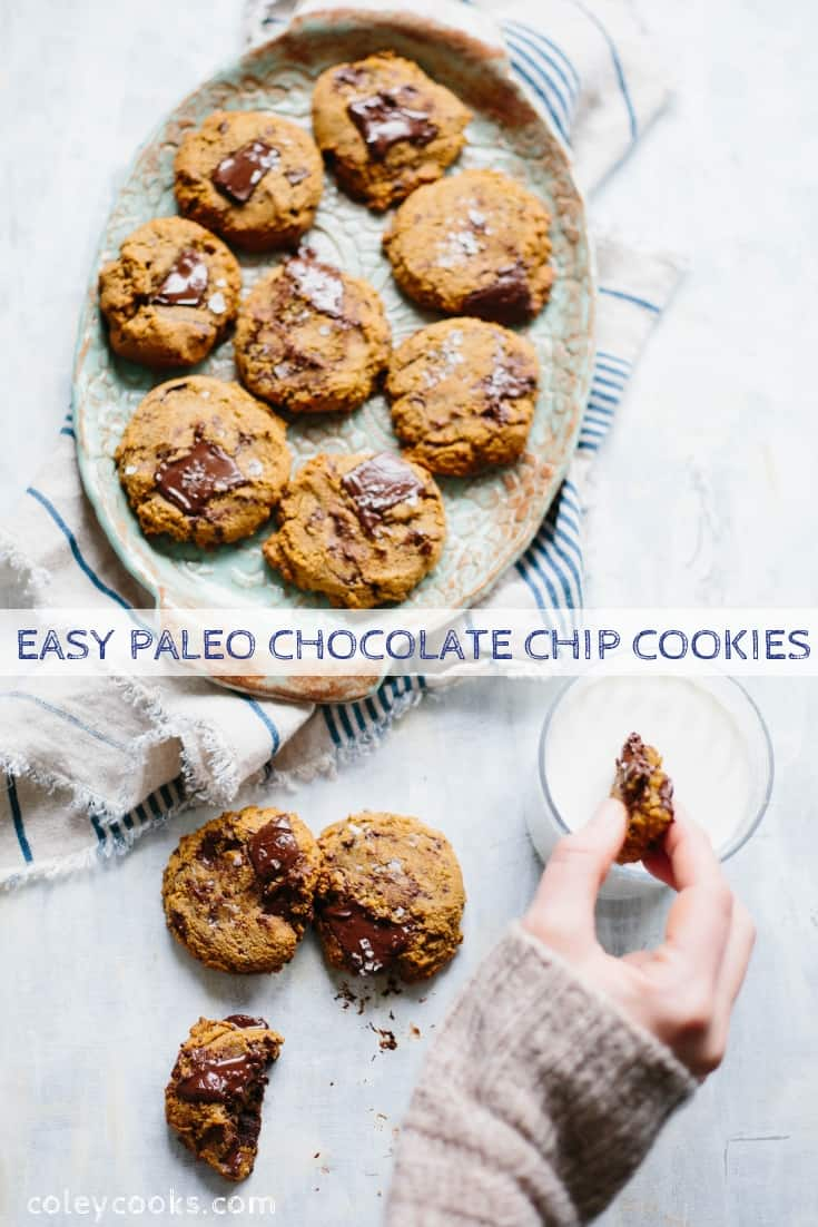 These Paleo Chocolate Chip Cookies are chewy, chocolatey and crazy addictive! This easy recipe is gluten/grain free, dairy free, refined sugar free and shockingly delicious. #easy #chocolate #cookie #glutenfree #recipe #paleo #dairyfree | ColeyCooks.com