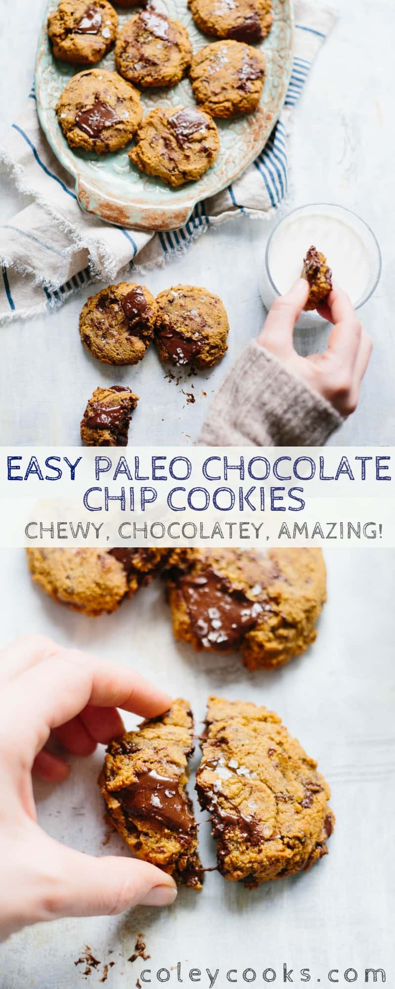 These Paleo Chocolate Chip Cookies are chewy, chocolatey and crazy addictive! This easy recipe is gluten/grain free, dairy free, refined sugar free and shockingly delicious. #easy #chocolate #cookie #glutenfree #recipe #paleo #dairyfree   ColeyCooks.com