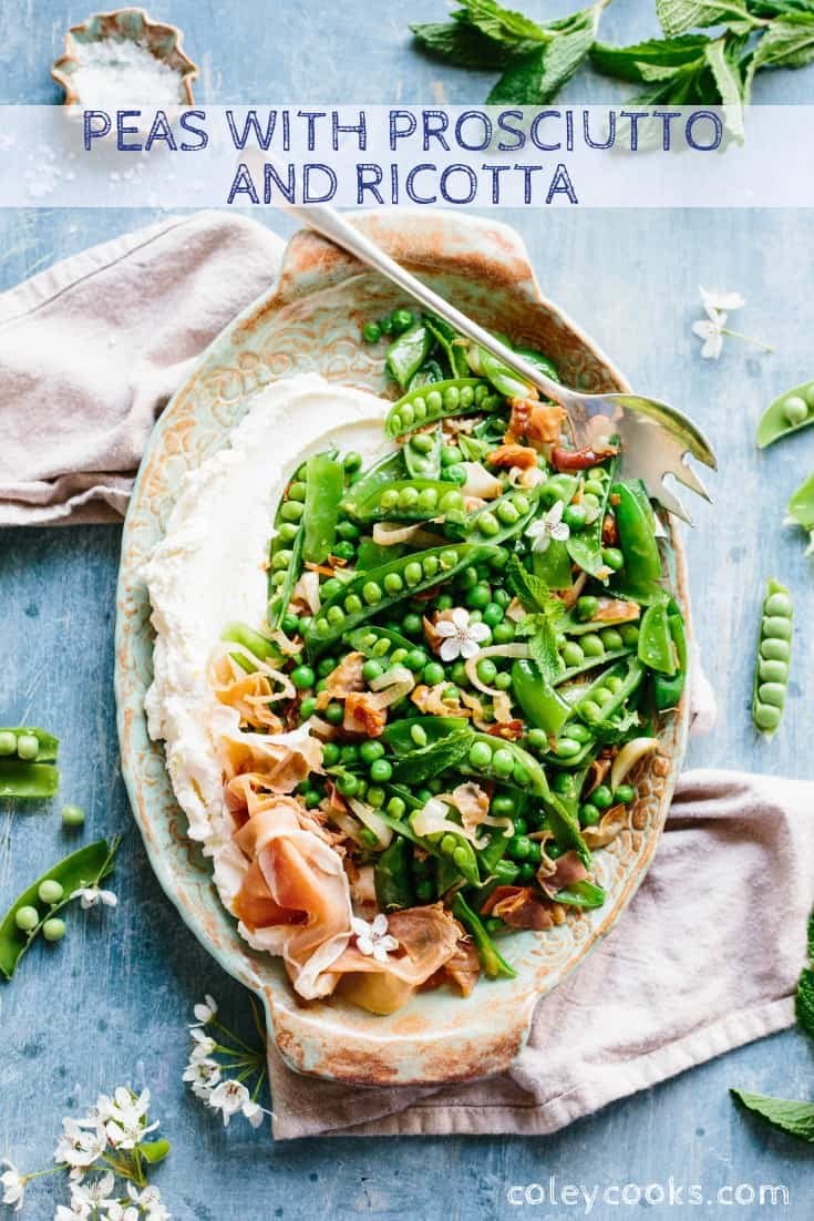 This easy recipe for Peas with Prosciutto + Ricotta is the perfect healthy side dish for spring. Great recipe for Easter, Mother's Day or any springtime occasion! #easy #spring #side #vegetable #recipe #Italian #peas #prosciutto #ricotta | ColeyCooks.com