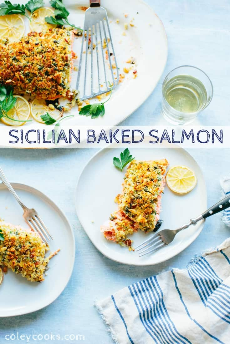 Sicilian Baked Salmon is a delicious and elegant recipe that's easy to prepare, healthy and perfect for entertaining! #easy #holiday #entertaining #sicilian #salmon #fish #recipe | ColeyCooks.com