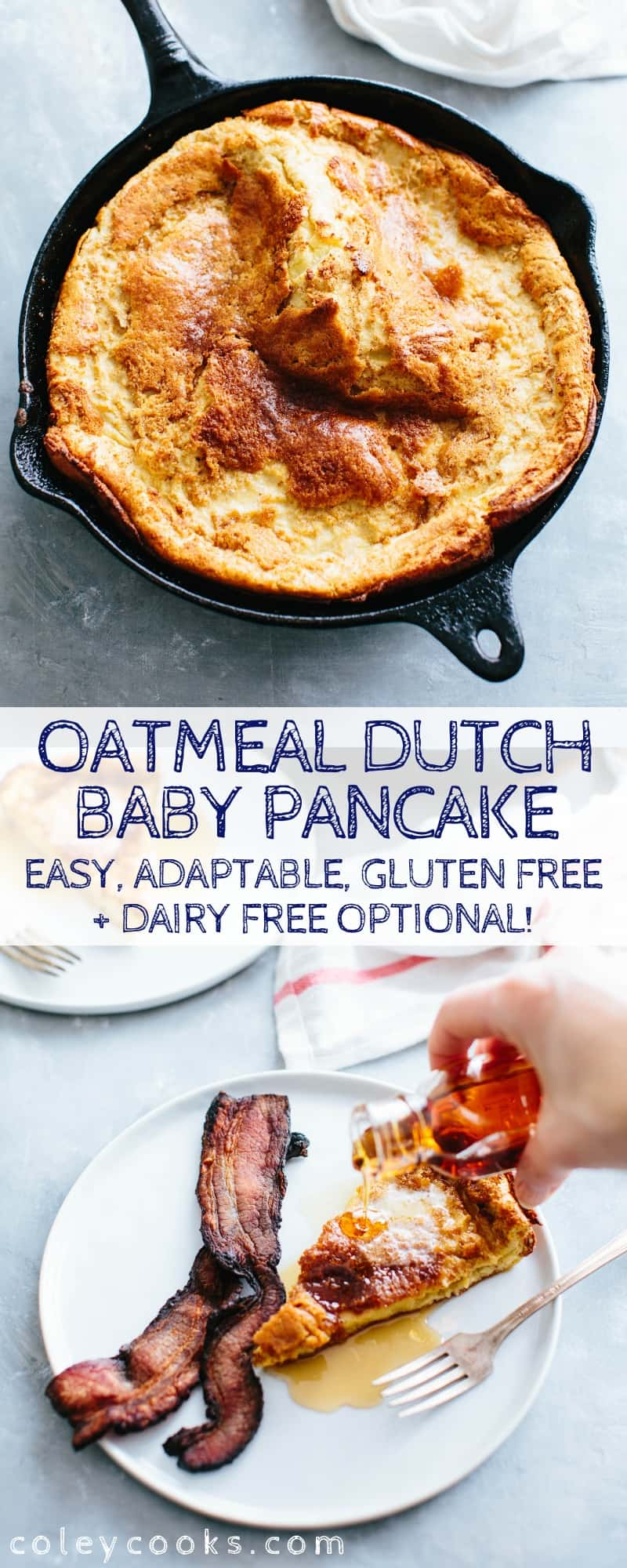 This Oatmeal Dutch Baby Pancake is gluten free, dairy free optional and SO easy to make! Adaptable, universal recipe that's as healthy as it is delicious. #oatmeal #pancake #dutch #baby #easy #recipe #breakfast #glutenfree | ColeyCooks.com