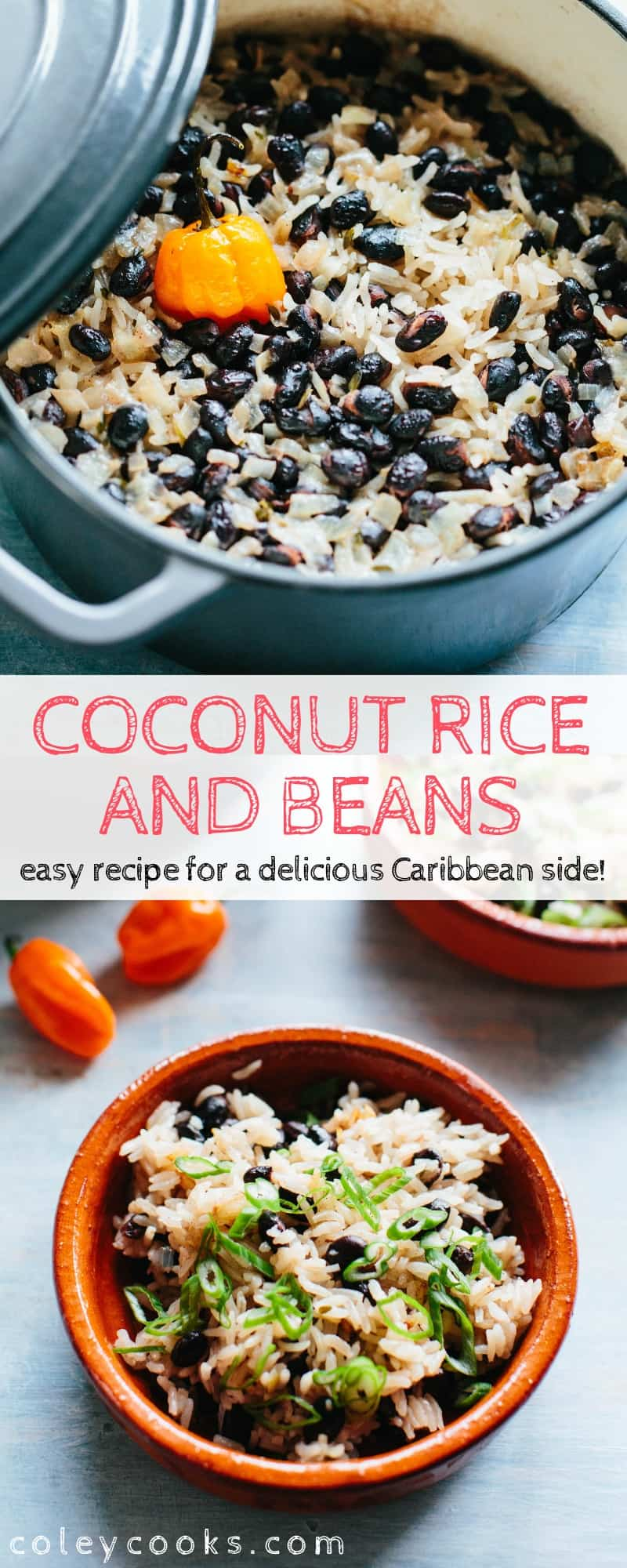 Coconut Rice and Beans is an easy, Caribbean-inspired side dish that's packed with protein and flavor! #easy #caribbean #jamaican #recipe #rice #beans #coconut #side | ColeyCooks.com