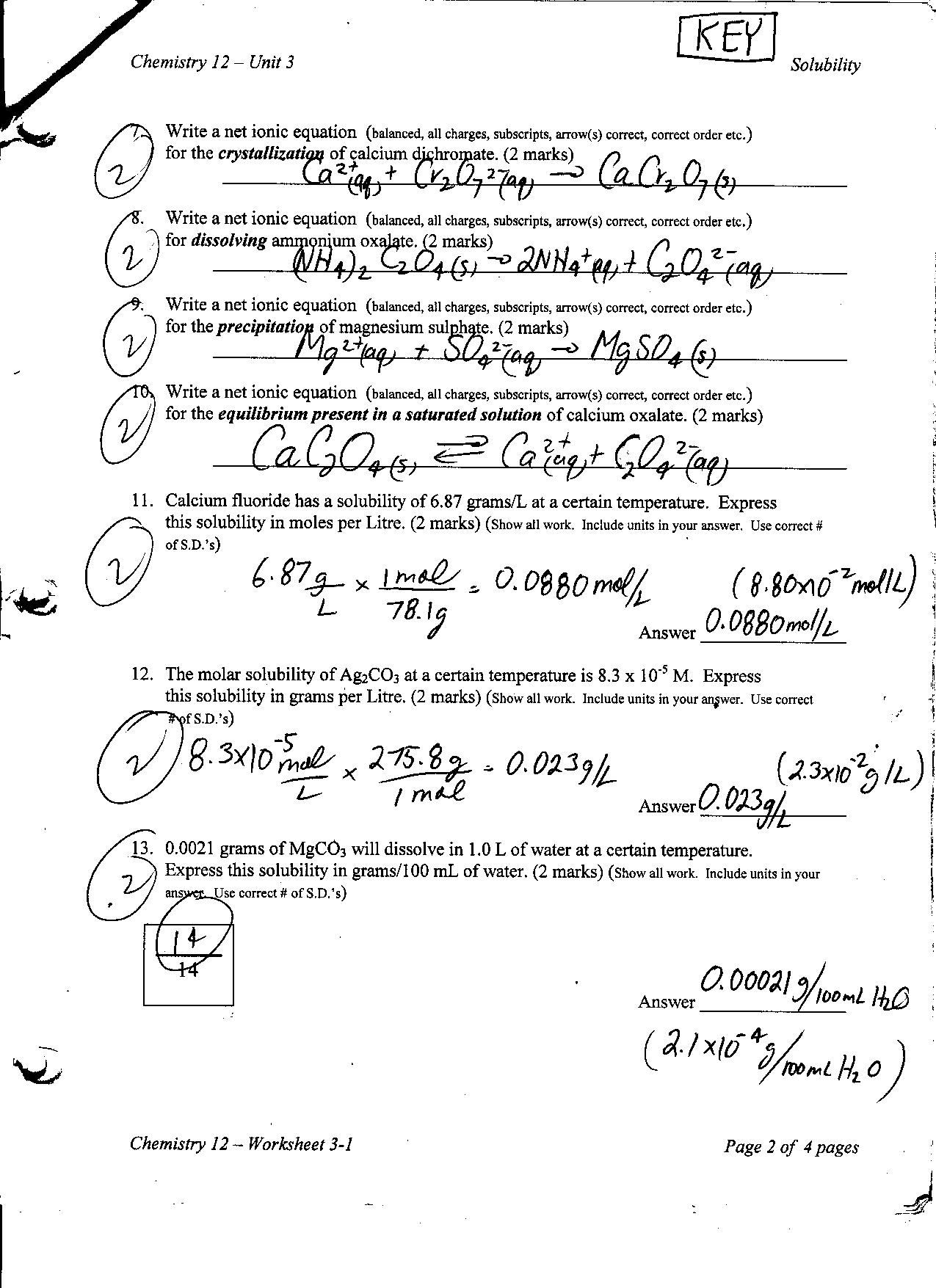 Solubility Curve Practice Problems Worksheet 1 Answer Key