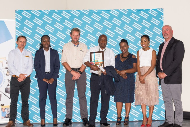 1.Frans van Niekerk,VP&MD of Atlas Copco(far right)with FLTR Evan Slack, Mboneni Magada, Johan Streuderst, David Skuni, Queenie Pink&Lebo Matai