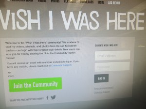 Website for Wish I Was Here (film)