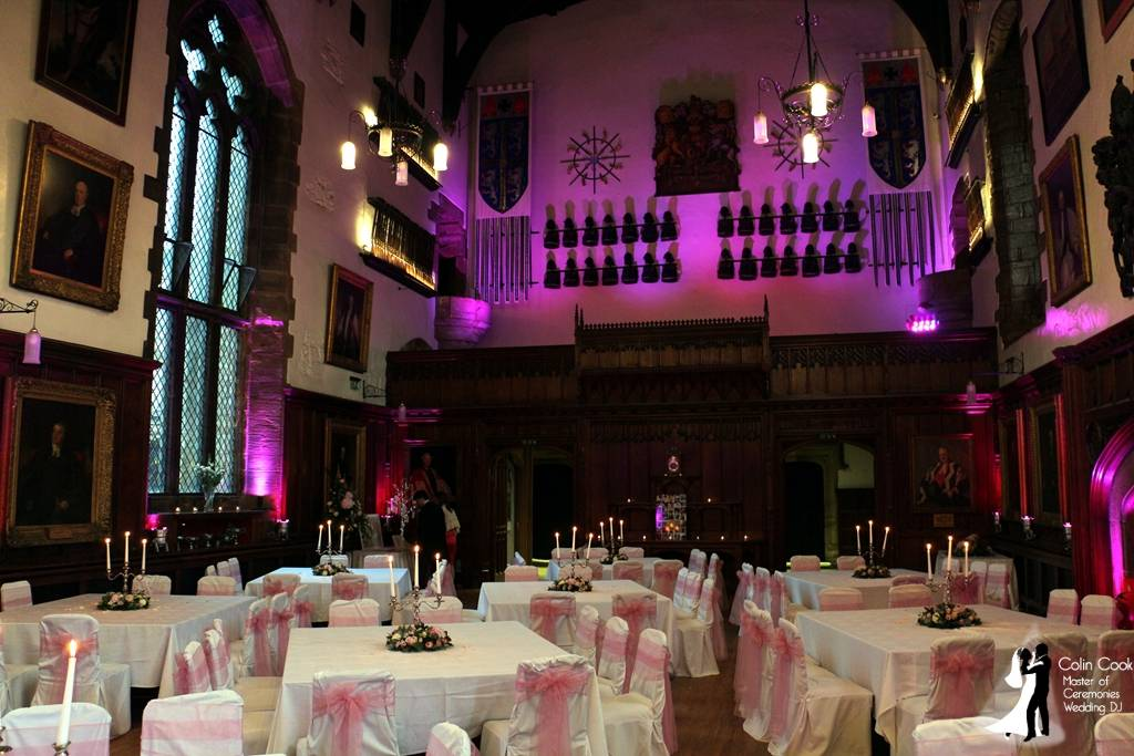 Durham Castle with Pink Lighting ready for Wedding Evening Reception and Disco