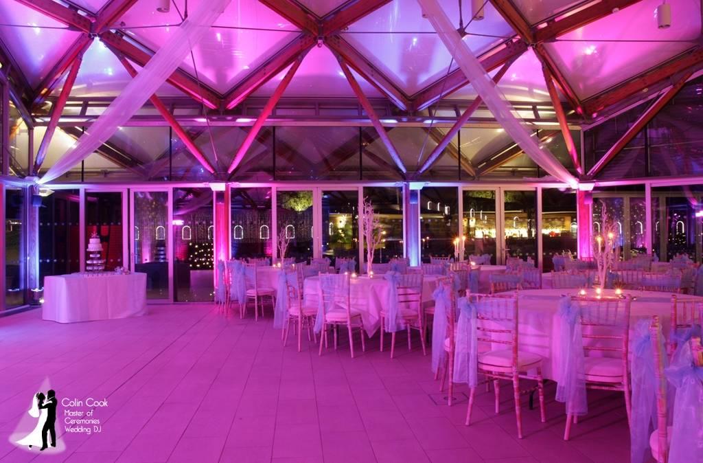 Alnwick Garden Wedding DJ, Disco and Uplighting. The Pavilion in Pink & Blue