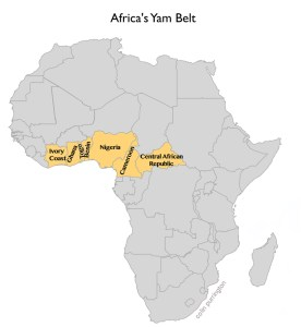 The yam-growing regions of Africa