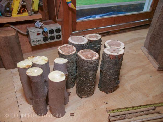"7"" logs for mason bee house"