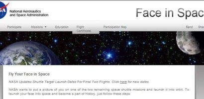 """Fly your face in space"""