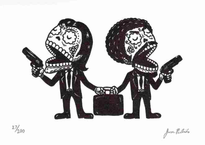 Calaveras de Pulp Fiction por José Pulido