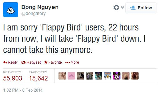 Flappy Bird announcement to take it down