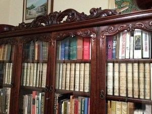The 34-vol set of The Collected Works of Sir Winston Churchill, (Editorial note: in a splendid bookcase designed by John McKay.).