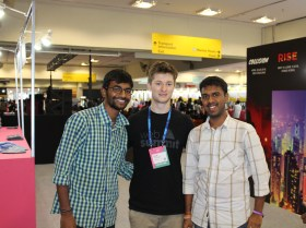 Harsha and Sreerag with Jack Costigan, Staff, Web Summit, Surge